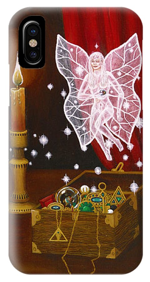 Fairy IPhone X Case featuring the painting Fairy Treasure by Roz Eve