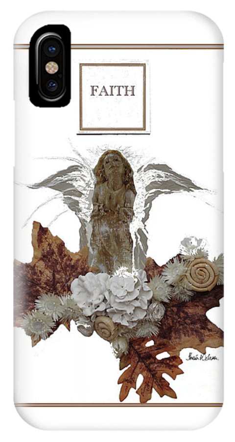 Angels IPhone X Case featuring the painting Faith by Thais Helena Ouzounian