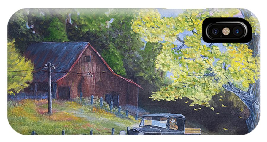 Barn IPhone X Case featuring the painting Fall Barn by Jerry McElroy