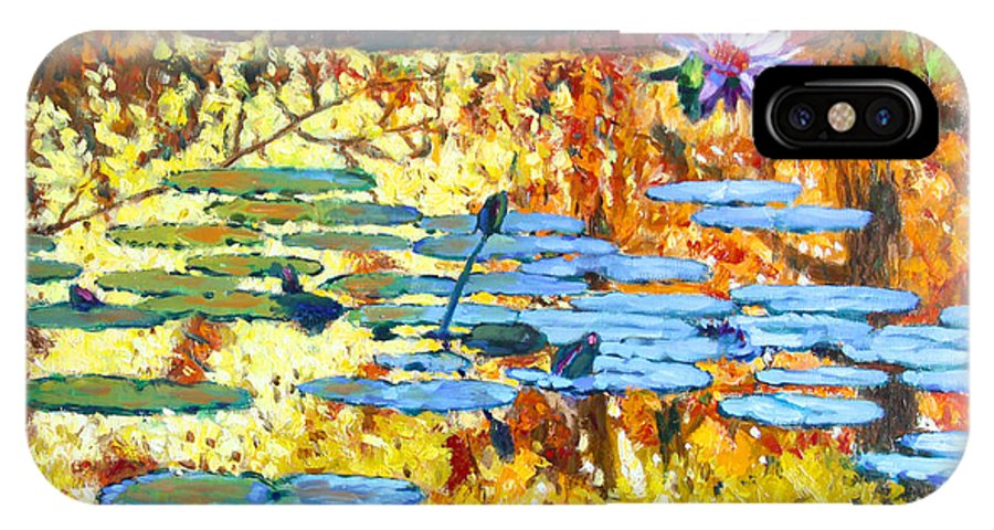 Fall IPhone X / XS Case featuring the painting Fall Colors On The Lily Pond by John Lautermilch