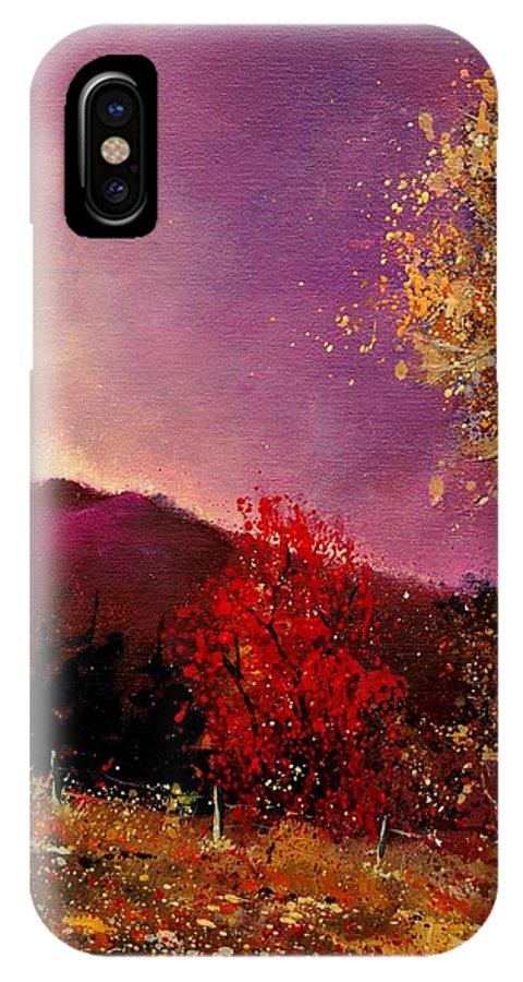 River IPhone X Case featuring the painting Fall Colors by Pol Ledent