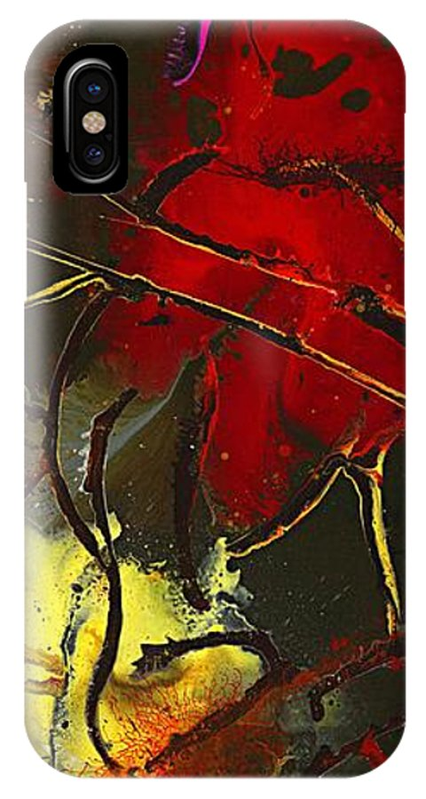 Red IPhone X Case featuring the painting Fall Decor by Kasha Ritter