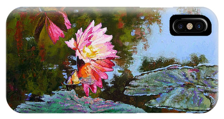Water Lily IPhone X Case featuring the painting Fall Glow by John Lautermilch