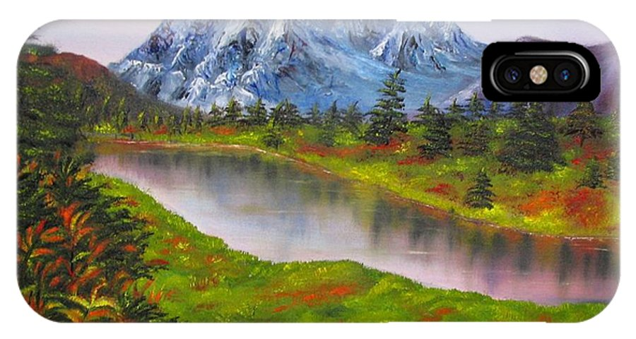 Fall IPhone X Case featuring the painting Fall In Mountains Landscape Oil Painting by Natalja Picugina