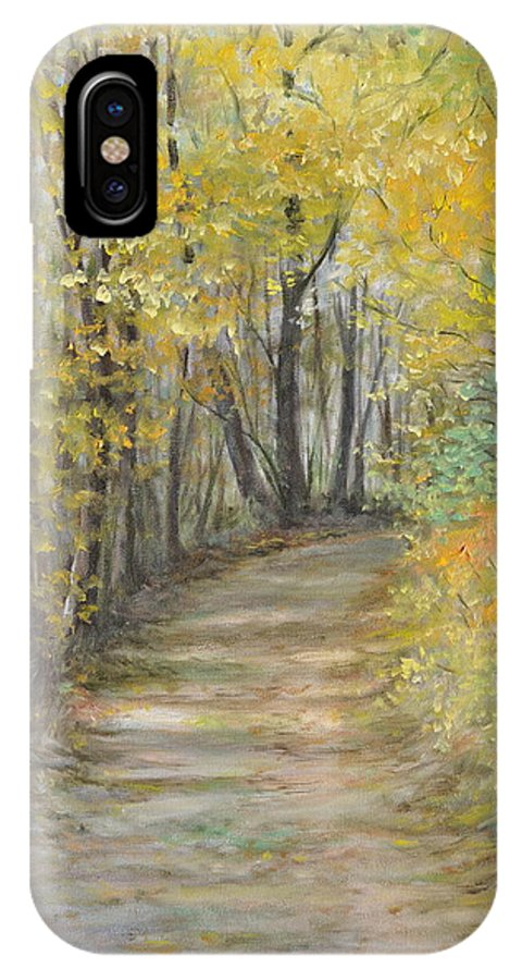 Fall Scene Painting For Sale IPhone X Case featuring the painting Fall Lane by Penny Neimiller