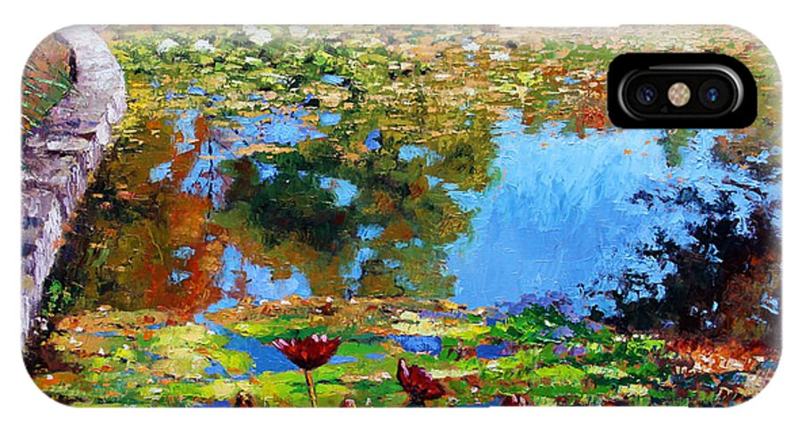 Garden Pond IPhone X Case featuring the painting Fall Leaves On Lily Pond by John Lautermilch