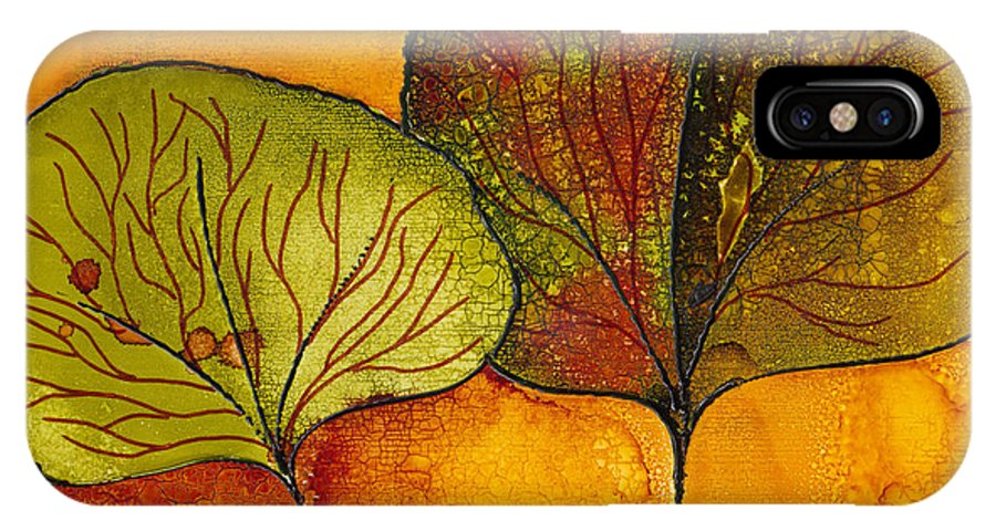 Leaf IPhone X Case featuring the painting Fall Leaves by Susan Kubes