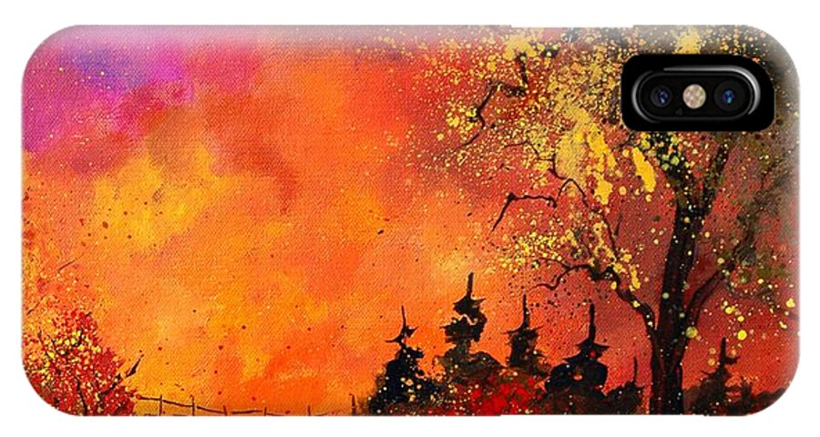River IPhone X Case featuring the painting Fall by Pol Ledent