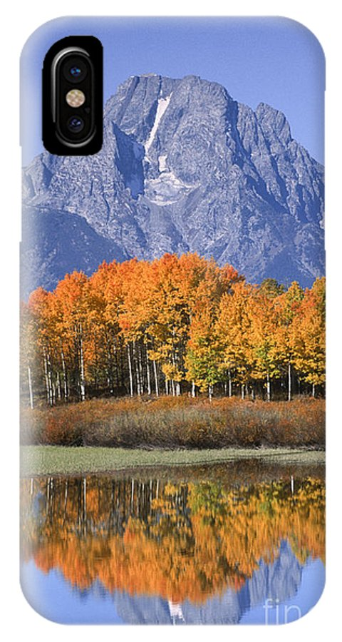 Grand Tetons IPhone X Case featuring the photograph Fall Reflection At Oxbow Bend by Sandra Bronstein