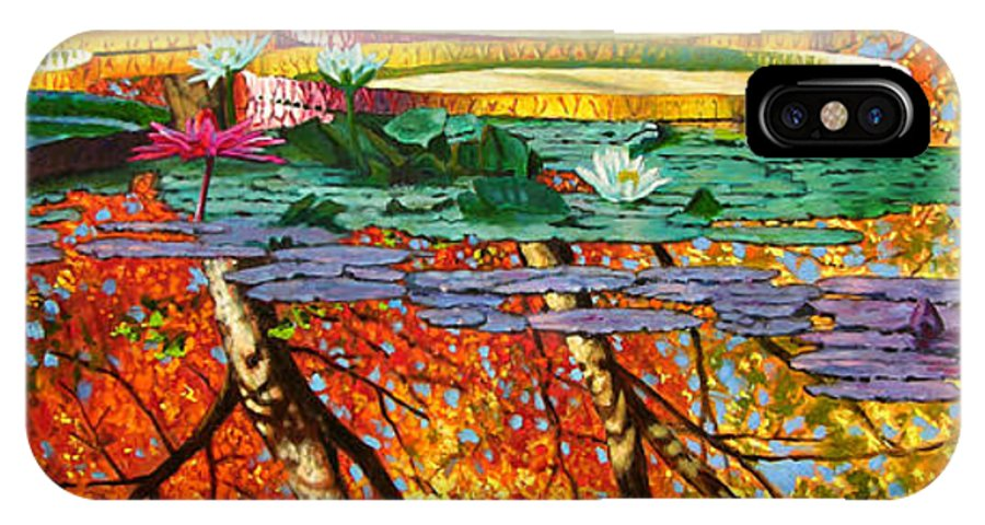 Garden Pond IPhone X / XS Case featuring the painting Fall Reflections 2 by John Lautermilch