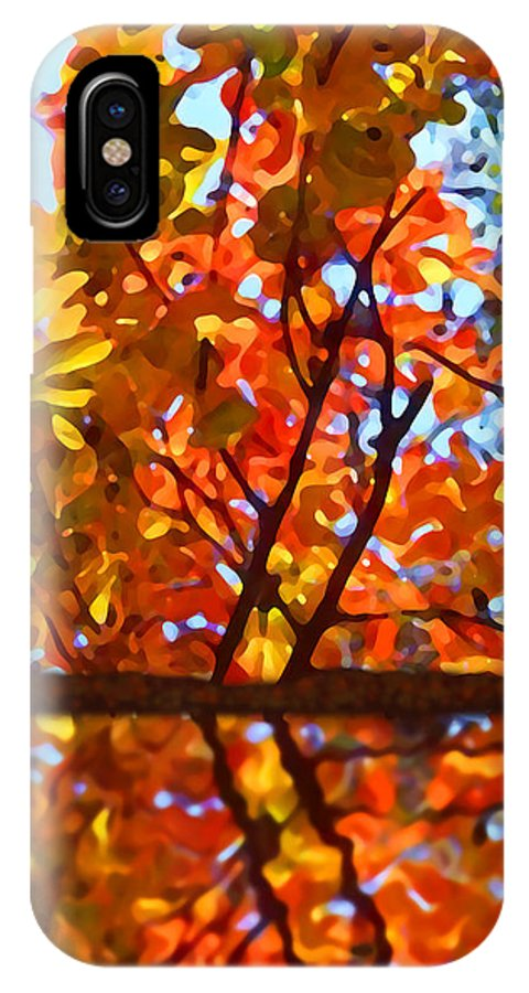 Trees IPhone X Case featuring the painting Fall Reflextion by Amy Vangsgard