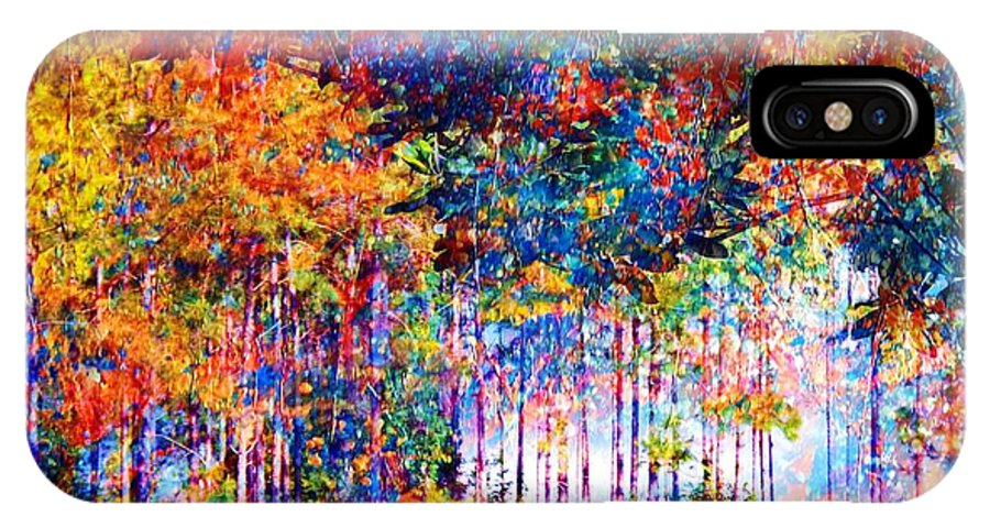 Abstract Landscape IPhone X Case featuring the mixed media Fall by Robin Monroe