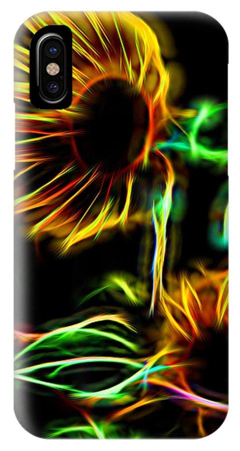 Sunflower IPhone X Case featuring the digital art Fall Sunseeker by Aliceann Carlton