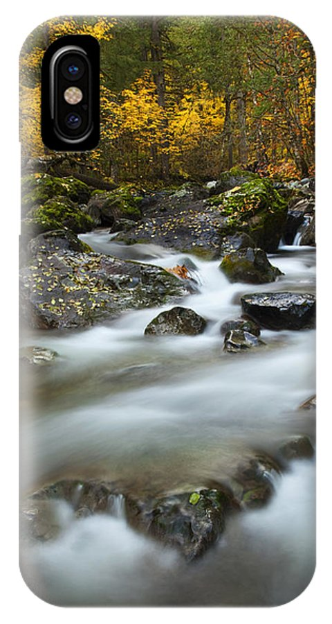 Stream IPhone X Case featuring the photograph Fall Surge by Mike Dawson