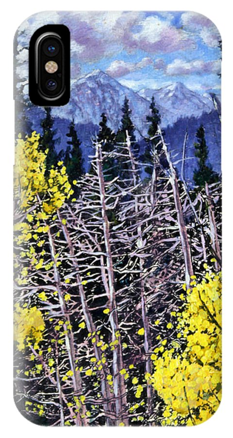 Aspens IPhone X Case featuring the painting Falling Aspen Leaves by John Lautermilch