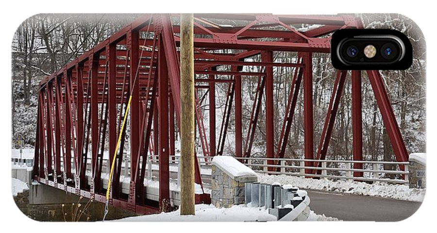 Winter IPhone X Case featuring the photograph Falls Village Bridge 1 by Nina Kindred