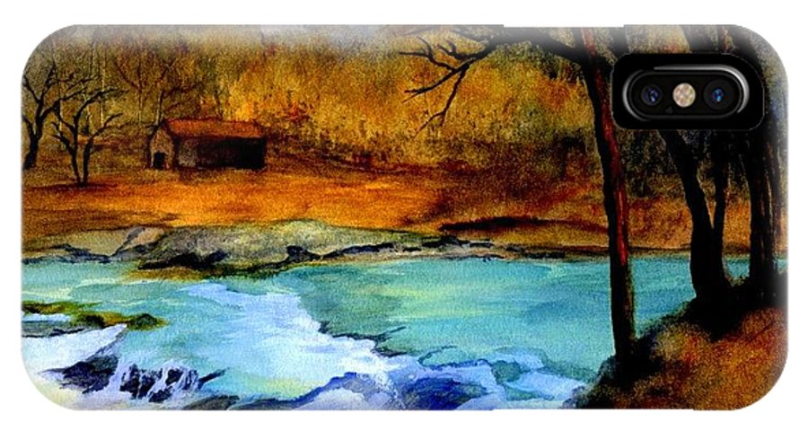 Waterfall IPhone X Case featuring the painting Fallsburg Ky Falls by Gail Kirtz