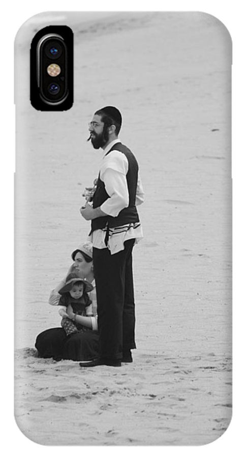 Black And White IPhone X Case featuring the photograph Family Beach Day by Rob Hans