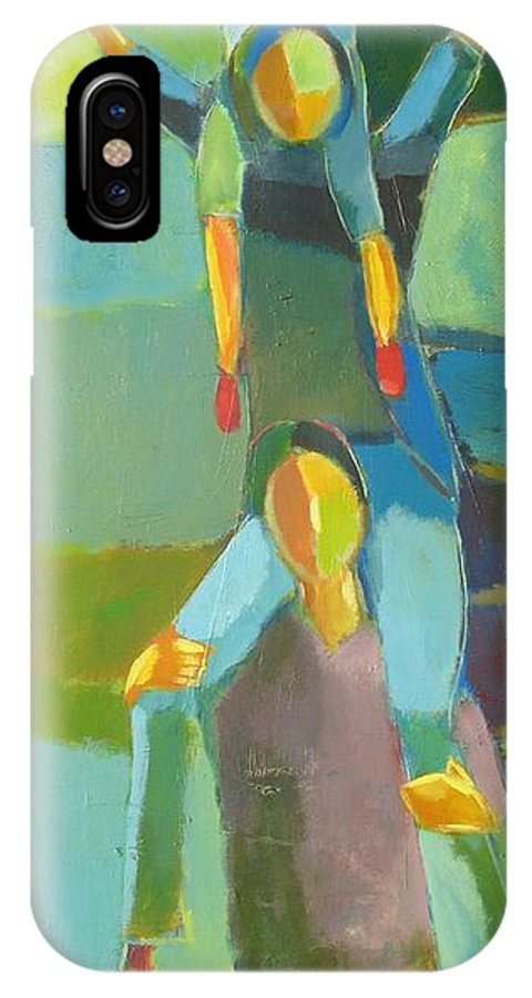 Abstract IPhone Case featuring the painting Family Joy by Habib Ayat