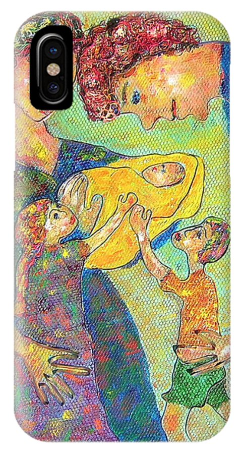 Family Enjoying Each Other IPhone X Case featuring the painting Family Matters by Naomi Gerrard