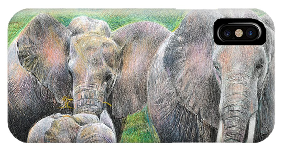 Elephant IPhone Case featuring the drawing Family Outing by Arline Wagner