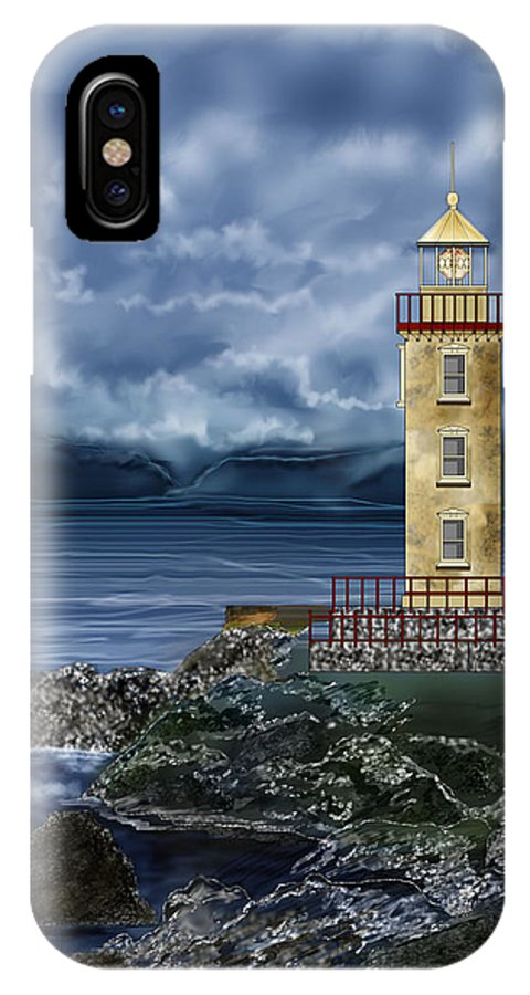 Lighthouse IPhone X Case featuring the painting Fanad Head Lighthouse Ireland by Anne Norskog