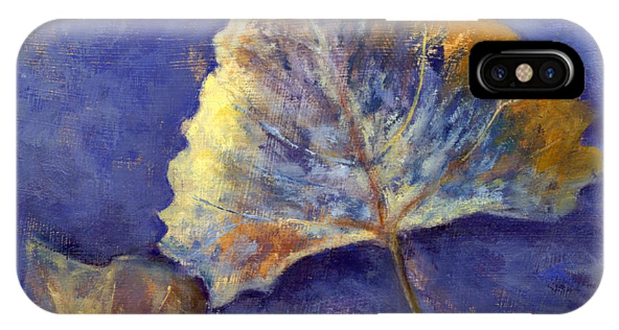 Leaves IPhone X Case featuring the painting Fanciful Leaves by Chris Neil Smith