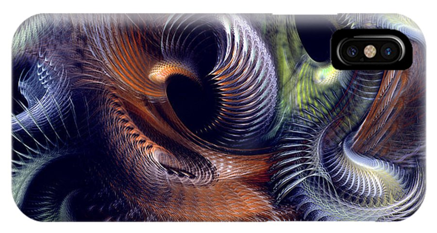 Abstract IPhone X Case featuring the digital art Fantastique by Casey Kotas