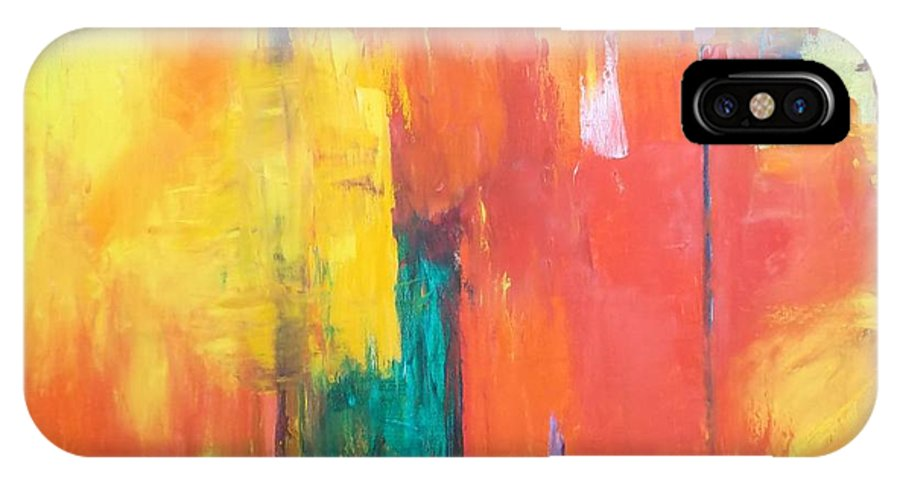 Abstract IPhone X Case featuring the painting Fantasy City  by Patricia Voelz