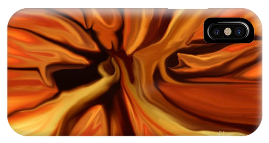 Abstract IPhone X Case featuring the digital art Fantasy in Orange by David Lane
