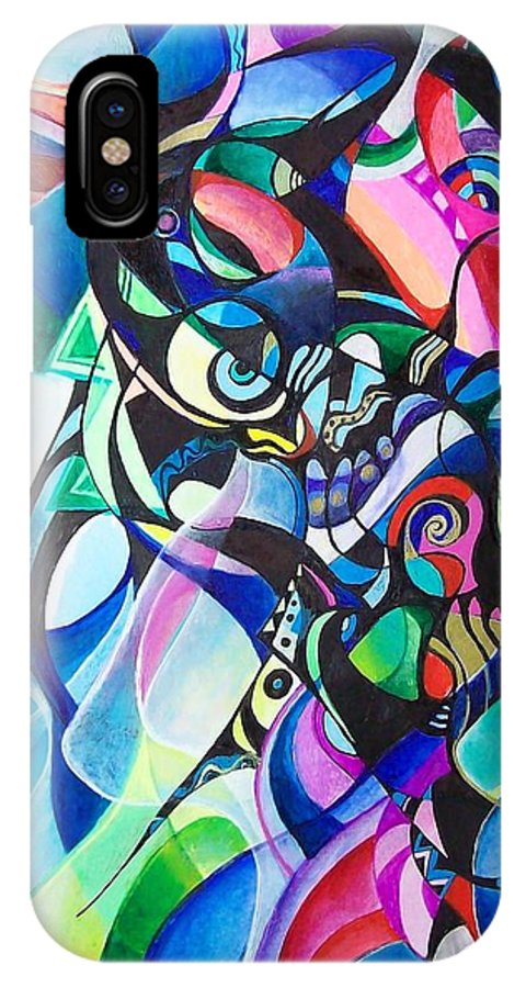 Ab Stract Acrylic Painting Pen Gel Ink Color Paper IPhone X Case featuring the painting Fantasy by Wolfgang Schweizer