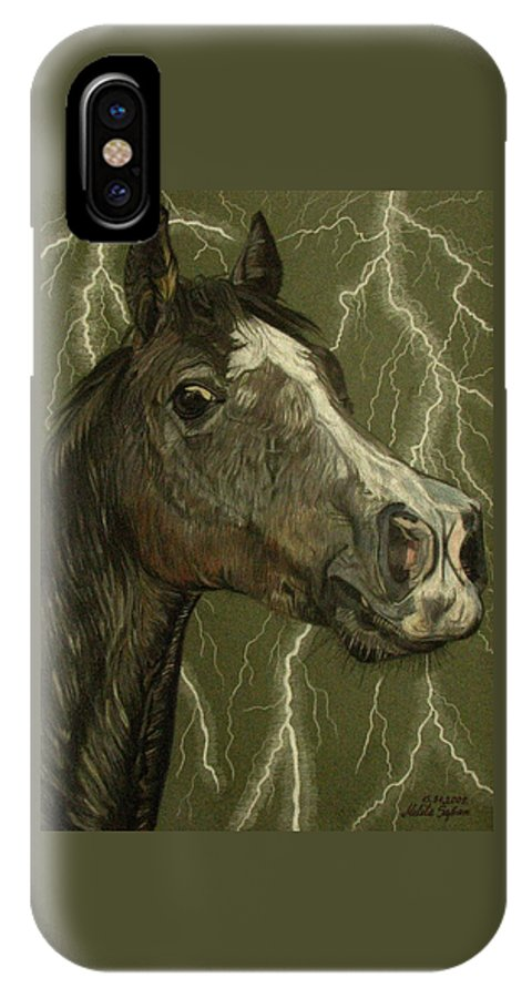 Horse IPhone X / XS Case featuring the drawing Fantasy Xanthus by Melita Safran