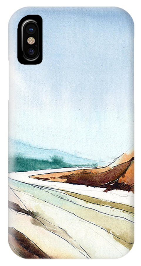 Landscape IPhone X Case featuring the painting Far Away by Anil Nene