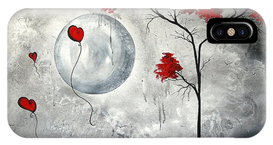 Abstract IPhone X Case featuring the painting Far Side Of The Moon By Madart by Megan Duncanson
