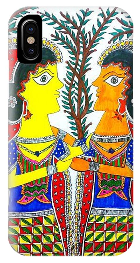 Madhubani IPhone X Case featuring the painting Farewell Sister by Vertikaa Singh