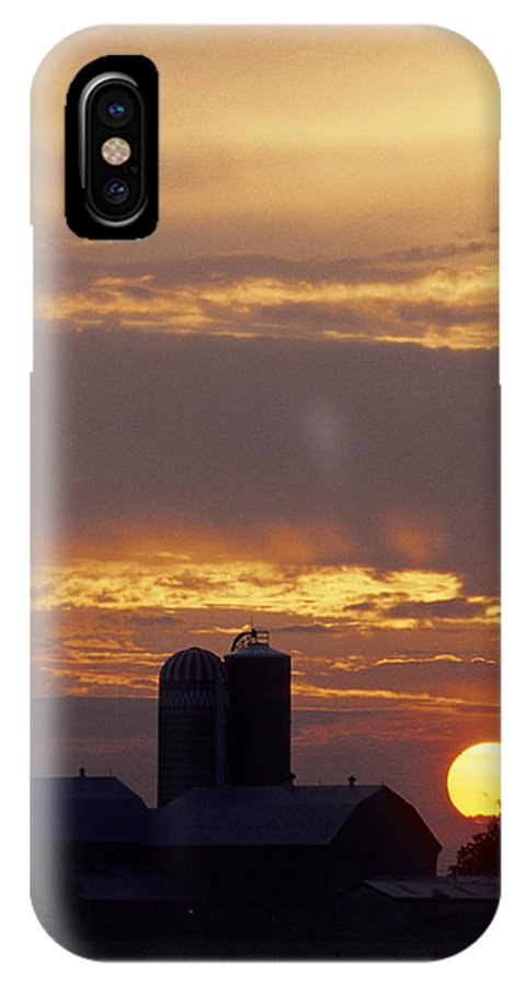 Farm IPhone Case featuring the photograph Farm At Sunset by Steve Somerville