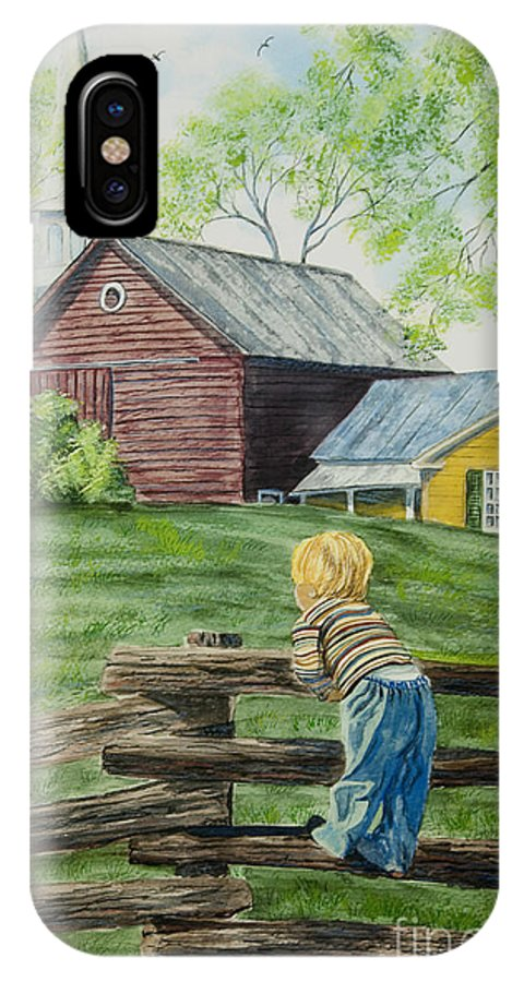 Country Kids Art IPhone X Case featuring the painting Farm Boy by Charlotte Blanchard