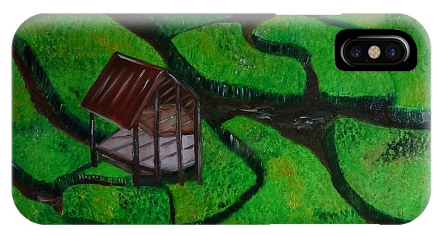 Farm House Oil Painting On Paper IPhone X Case featuring the painting Farm House by Murali S