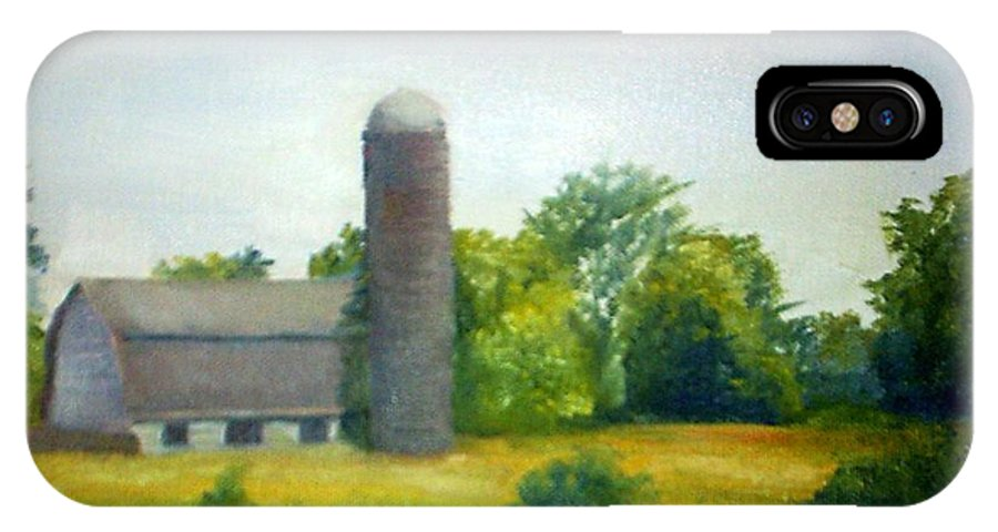 Farm IPhone X Case featuring the painting Farm In The Pine Barrens by Sheila Mashaw