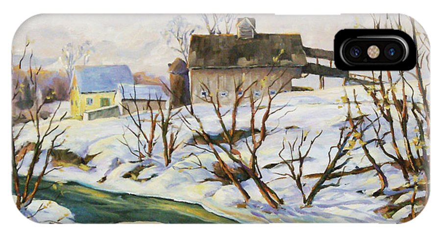Farm IPhone X Case featuring the painting Farm In Winter by Richard T Pranke