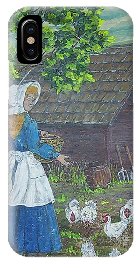 Barn IPhone X Case featuring the painting Farm Work I by Phyllis Mae Richardson Fisher