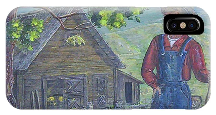 Barn IPhone X Case featuring the painting Farm Work II by Phyllis Mae Richardson Fisher