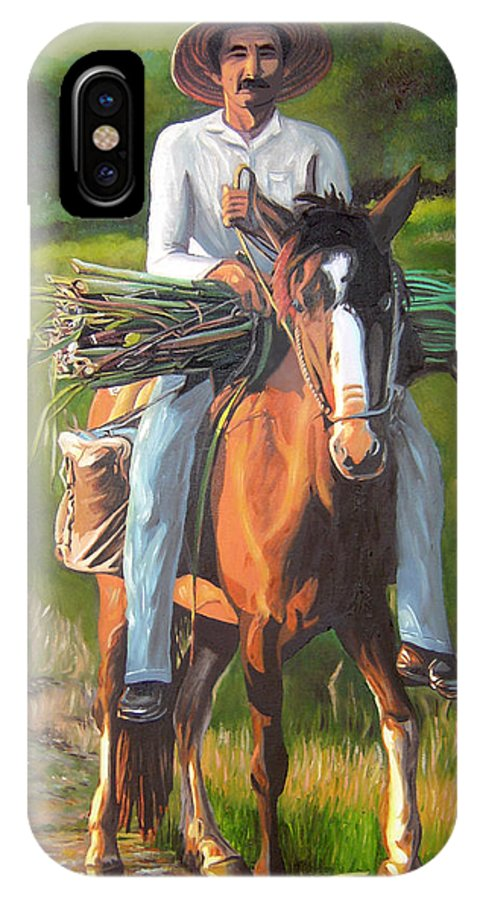 Cuban Art IPhone X Case featuring the painting Farmer On A Horse by Jose Manuel Abraham