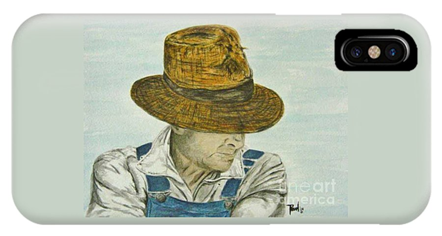 Portrait IPhone X Case featuring the painting Farmer Ted by Regan J Smith