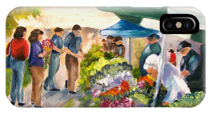 People IPhone X Case featuring the painting Farmer's Market by Carol Sweetwood