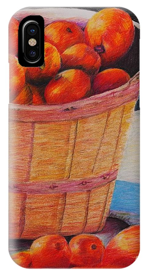 Produce In A Basket IPhone X Case featuring the drawing Farmers Market Produce by Nadine Rippelmeyer