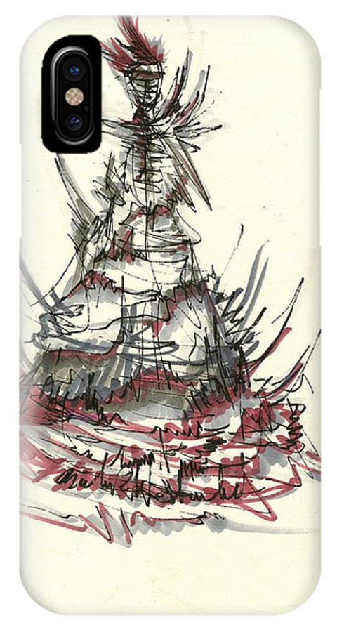 Fashion Drawing IPhone X Case featuring the drawing Fashionista 2 by Nadine Westerveld