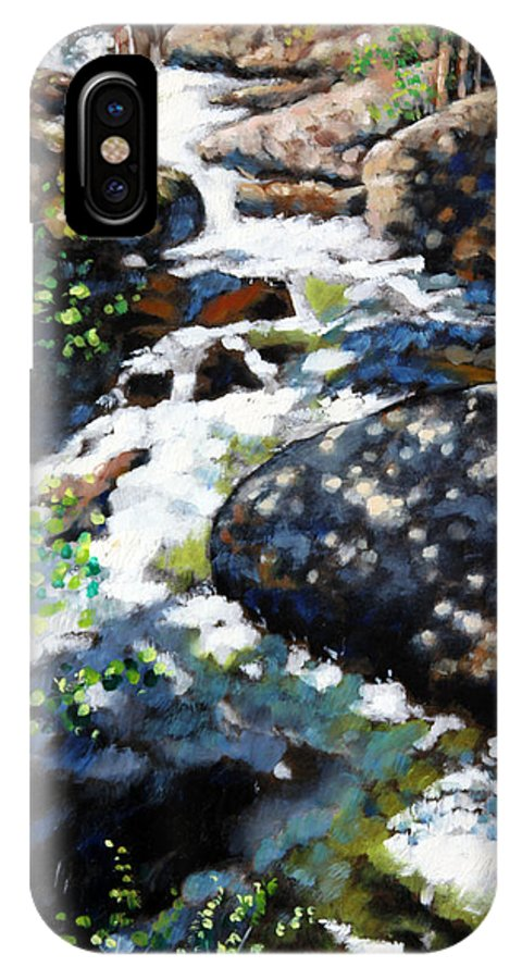 Fast Mountain Stream IPhone X Case featuring the painting Fast Stream in Colorado by John Lautermilch