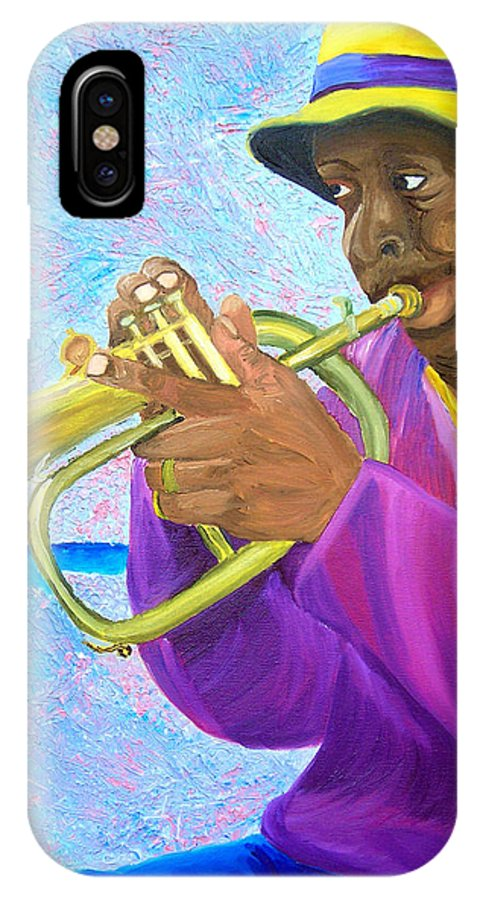 Street Musician IPhone X Case featuring the painting Fat Albert Plays The Trumpet by Michael Lee