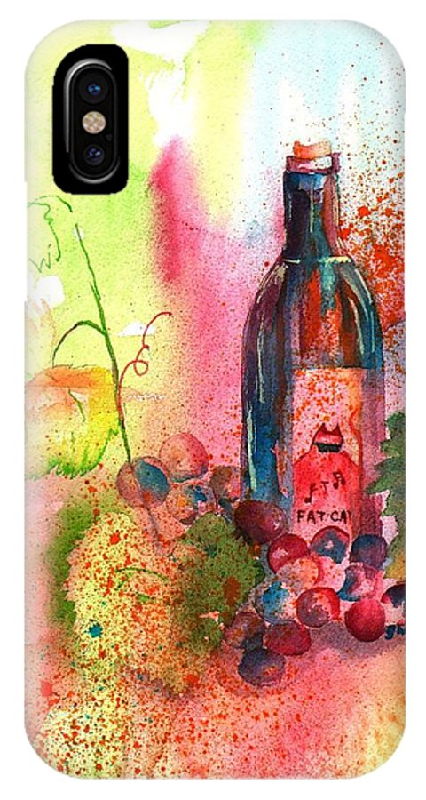 Fat Cat IPhone X Case featuring the painting Fat Cat Wine by Sharon Mick